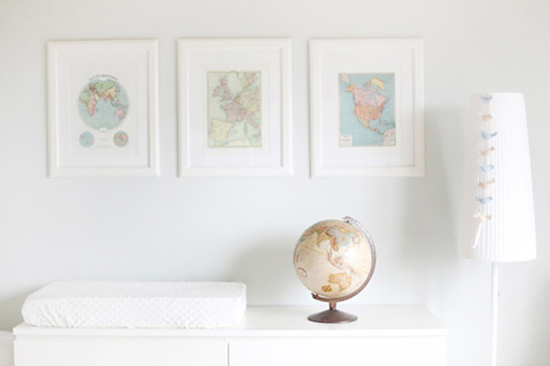 Vintage maps as room decor
