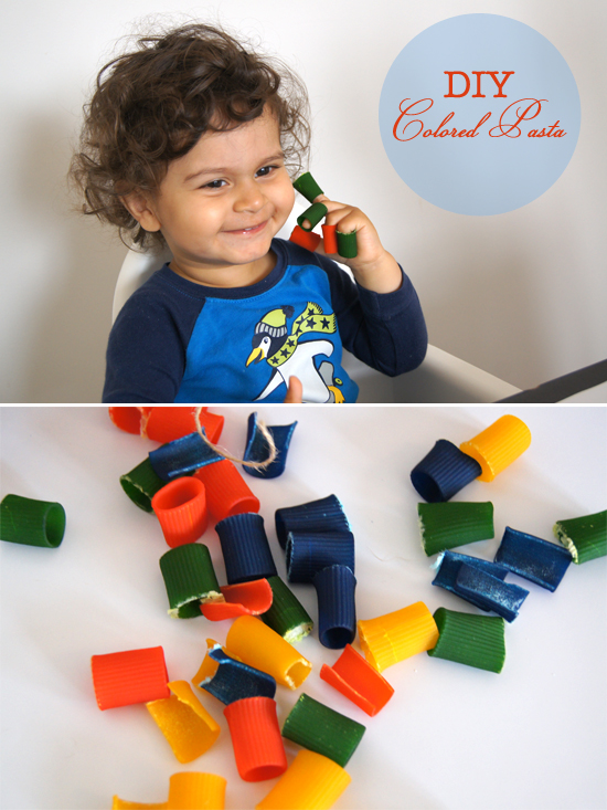 DIY Colored Pasta Play by Mini Piccolini